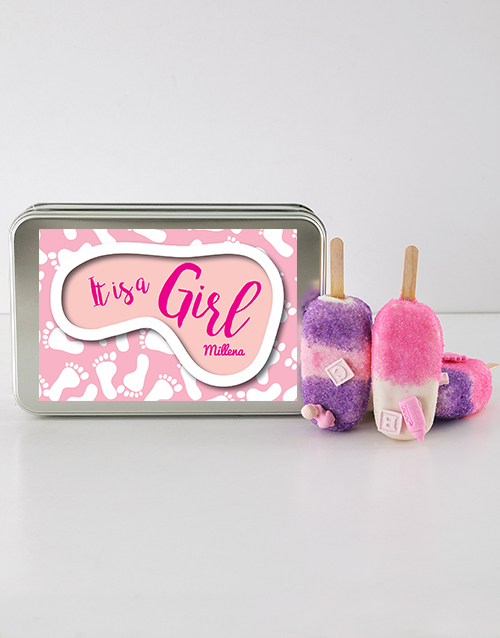 bakery: Baby Girl Cakes on a Stick in a Personalised Tin!