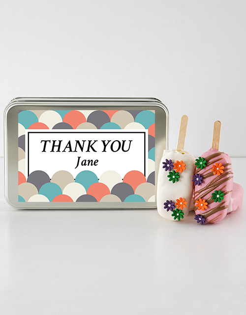 personalised: Thank You Cakes on a Stick in a Personalised Tin!