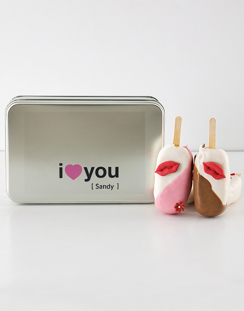 personalised: Love Pie Cakes on a Stick in a Personalised Tin!
