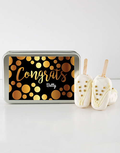 personalised: Congrats Girl Cake on a Stick in Personalised Tin!