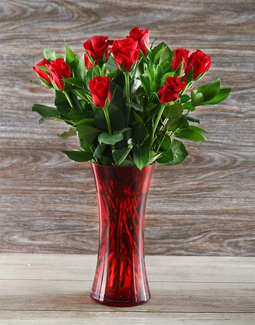 vase: Red Roses in a Red Decorative Vase!