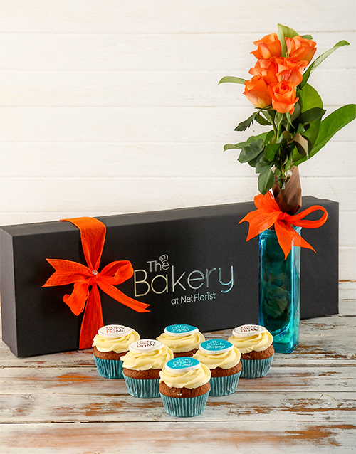 bakery: Happy Home Cupcakes and Flowers Gift Box!