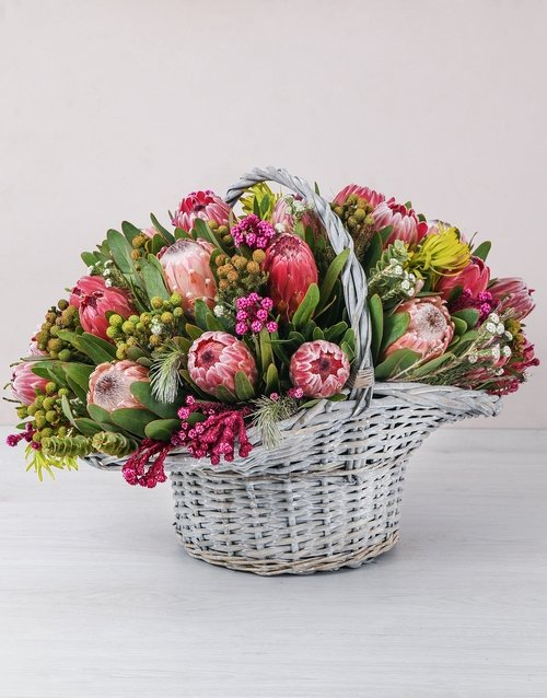 basket: Mixed Proteas in a Large Basket!