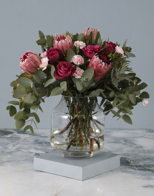 flowers: Pastel Pink Mixed Flower Mothers Day Vase!