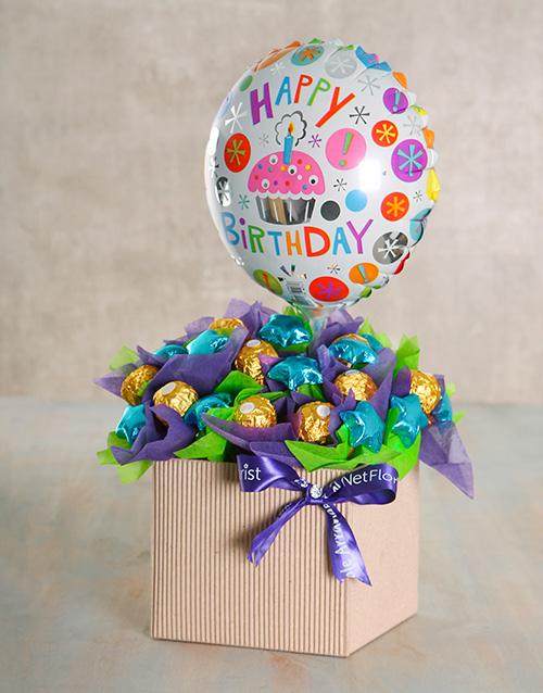 flowers: Happy Birthday Balloon Edible Box!