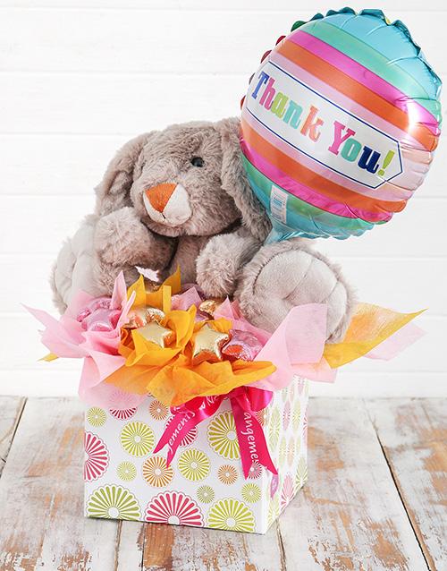 edible-chocolate-arrangements: Rabbit Choc Stars and Thank You Balloon Box!