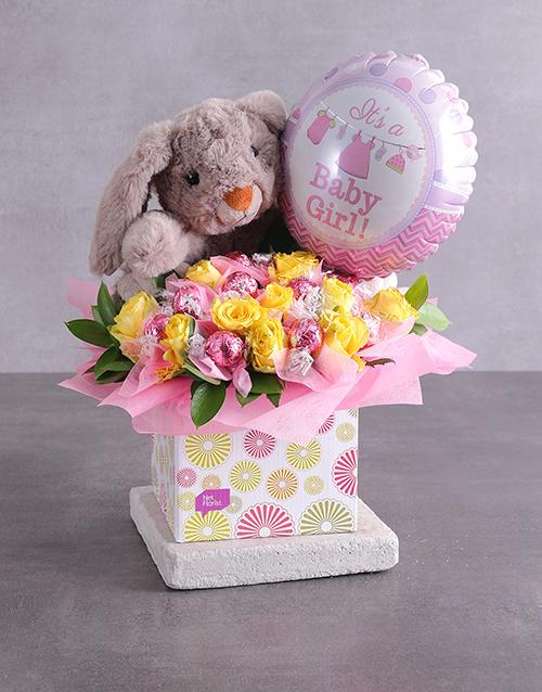 edible-arrangments: Rabbit Lindt and Baby Girl Balloon Box!