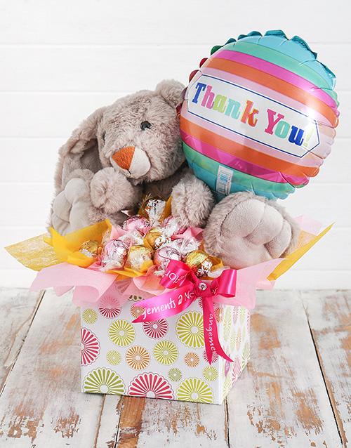 edible-arrangments: Rabbit Lindt and Thank You Balloon Box!