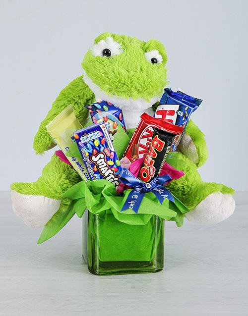 edible-chocolate-arrangements: Green Frog and Chocolate Gift!