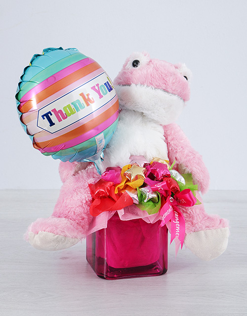 edible-chocolate-arrangements: Pink Froggy Choc Star and Thank You Balloon Vase!