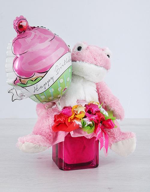teddy-bears: Pink Froggy Choc Star and Cupcake Balloon Vase!