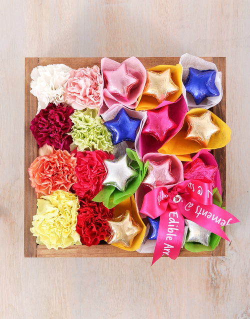 edible-arrangments: Mixed Carnations and Chocolate Star Crate!