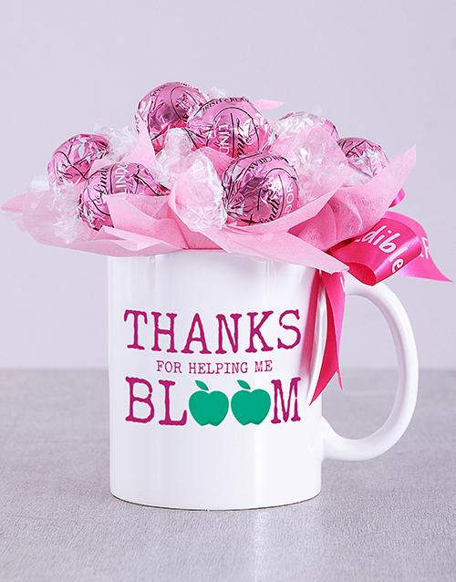 edible-chocolate-arrangements: Bloom Pink Lindt Mug Arrangement!