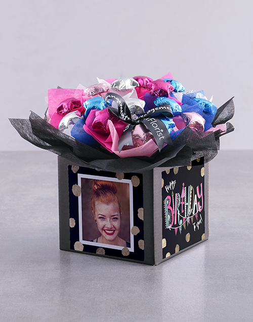 edible-chocolate-arrangements: Personalised Birthday Polka Dot Chocolate Box!
