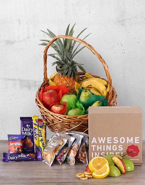 basket: Fruity Snack and Chocolate Basket!