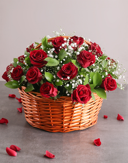 anniversary: Red Rose Basket Assorted!