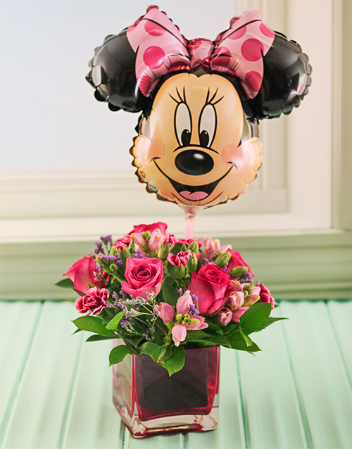 flowers: Pink Roses in a pink vase with Minnie Balloon!