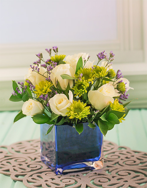 birthday: Small Square Blue Glass Vase with Flowers!