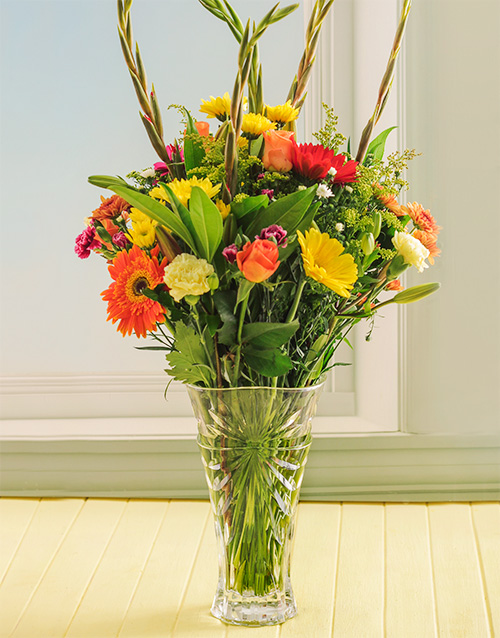 colour: Bright Mixed Flowers in a Oasis Crystal Vase!