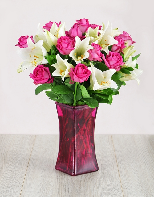 birthday: Roses and Lilies in Pink Flair Vase!