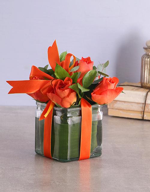 birthday: Orange Roses in a Square Vase!