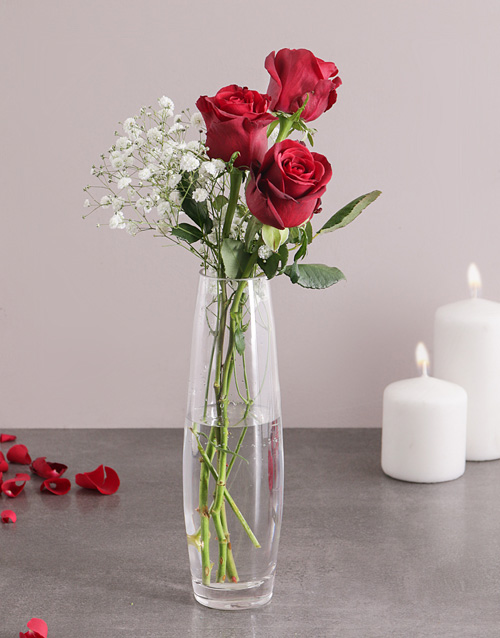 anniversary: 3 Red Roses in a Vase!