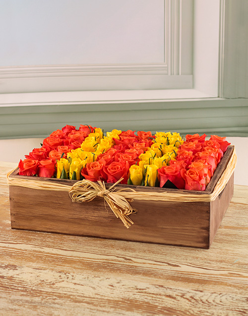 colour: Orange and Yellow Fresh Cut Roses in a Wooden Box!