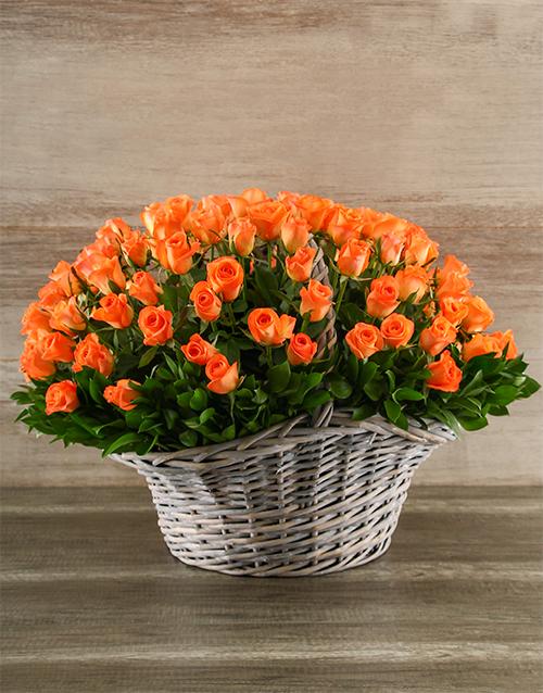 basket: 100 Vibrant Orange Roses in a Basket!