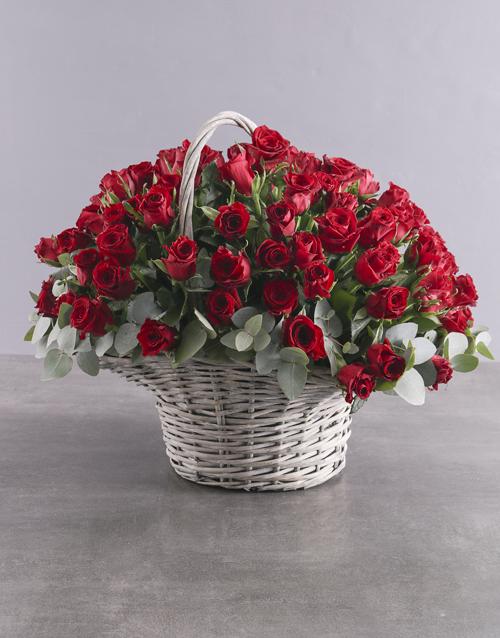anniversary: Darling Heart 100 Red Rose Basket!