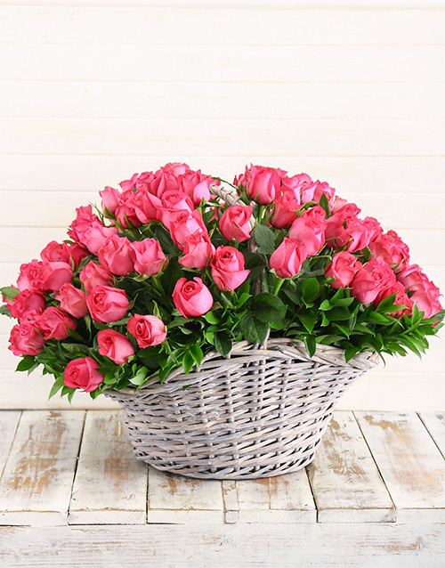 colour: 100 Cerise Roses in a Basket!