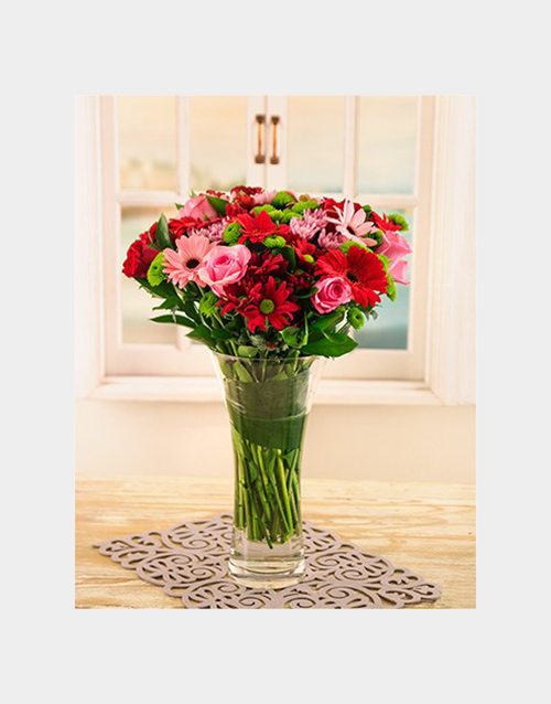 christmas: Pink and Red Gerberas, Roses and Sprays in Vase!
