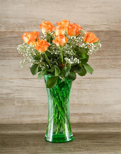 roses: Orange Rose and Gyp in Green Vase!