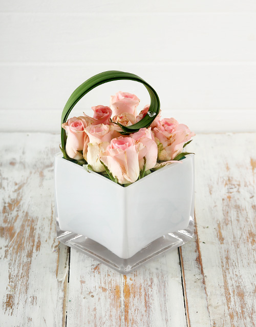 colour: Petite Pink Roses in Square Glass Vase!