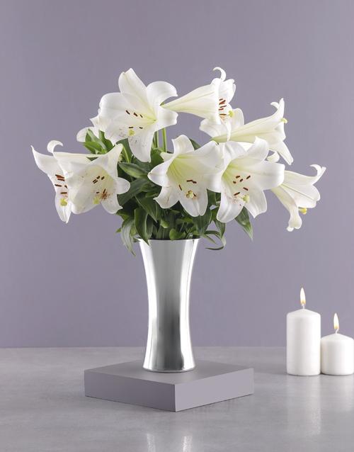 anniversary: St Joseph Lilies in Silver Vase!