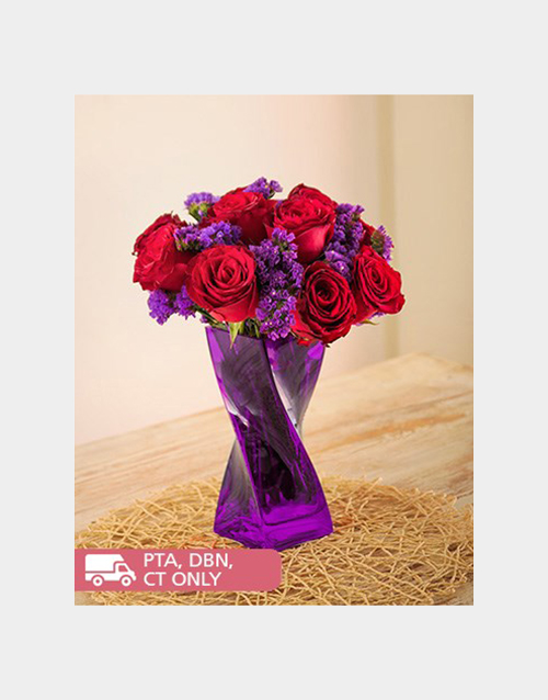 anniversary: Red Roses and Purple Statice in Twisty Vase!