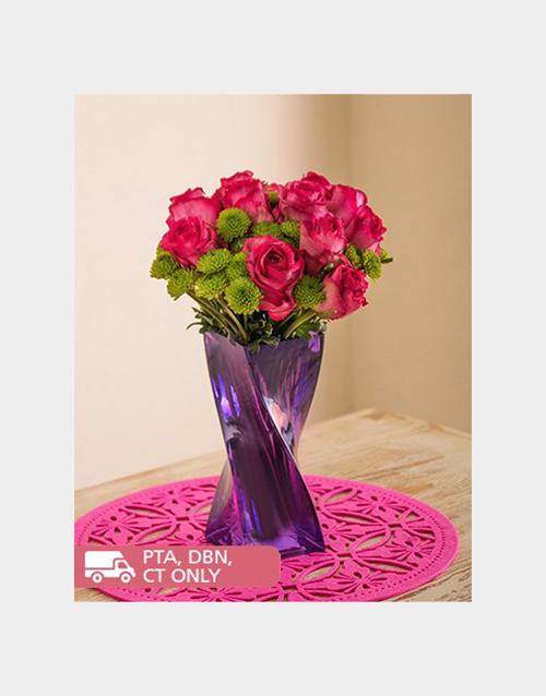 colour: Pink Roses and Sprays in a Purple Twisty Vase!