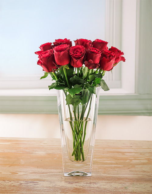 anniversary: Candy Red Rose Arrangement in Crystal Vase!