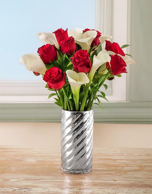 anniversary: Grandeur Love Arum Lilies and Rose Arrangement!