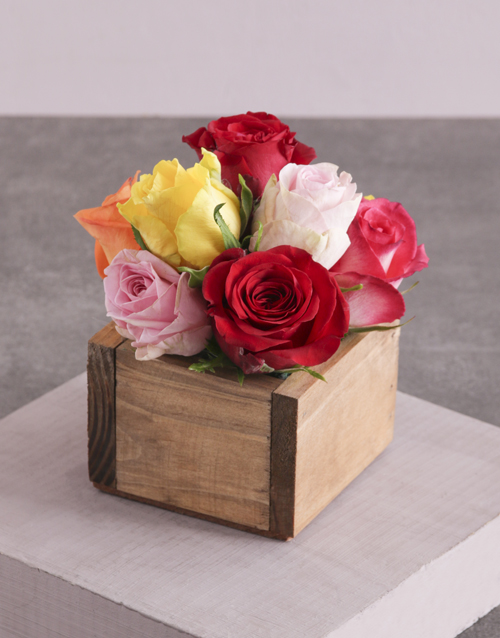 colour: Mixed Roses in Wooden Box!