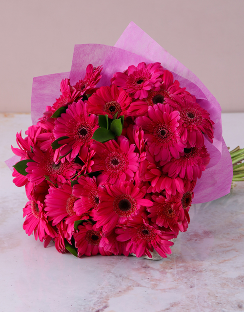 birthday: Cerise Pink Gerberas in a Bouquet!