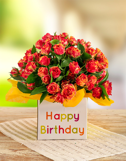 colour: Orange Kenyan Cluster Roses in a Birthday Box!