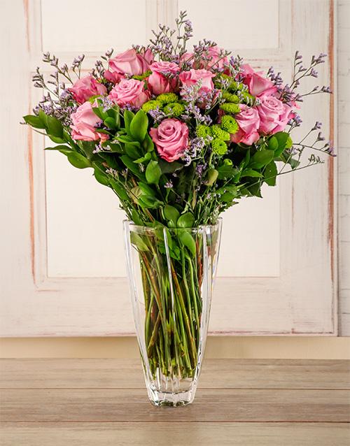 vase: Light Purple Passion Floral Arrangement!