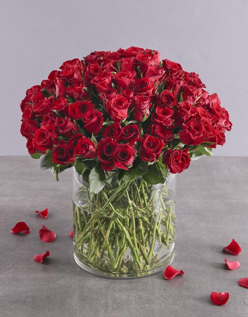 anniversary: Radiant 100 Red Rose Arrangement!