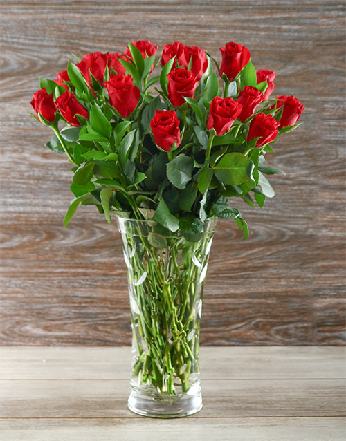 colour: Love is Red Roses in a Crystal Laurus Vase!