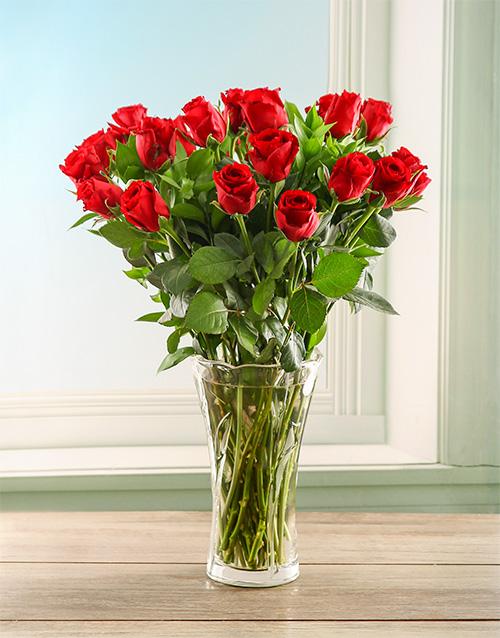 roses: Scarlet Roses in a Crystal Vase!