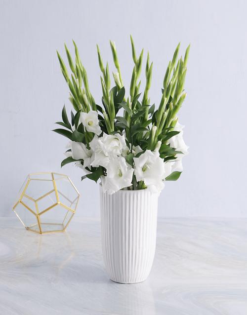 bosses-day: White Gladiolus in a White vase!