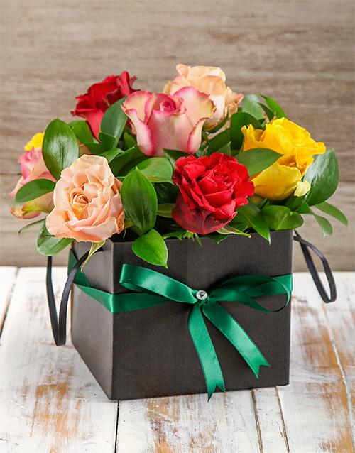 colour: Vibrant Giant Ethiopian Roses in Black Gift Box!