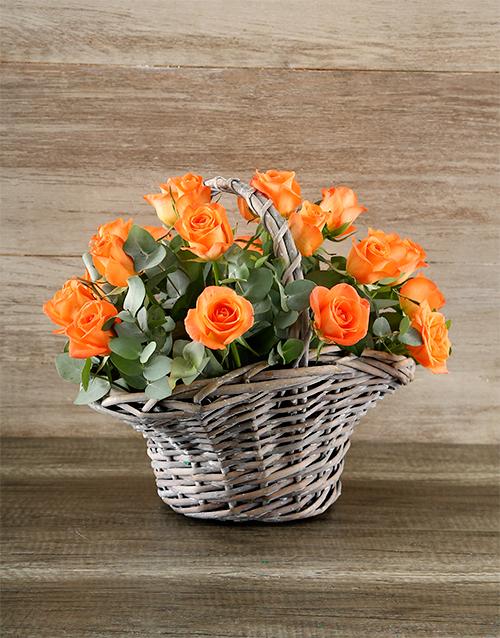 colour: Grey Basket of Vibrant Orange Roses!