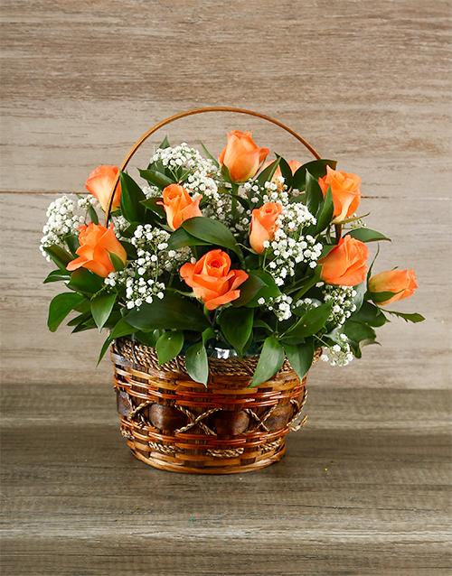 colour: Orange Roses in Brown Basket!