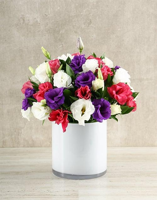 vase: Mixed Lizzies in White Vase!